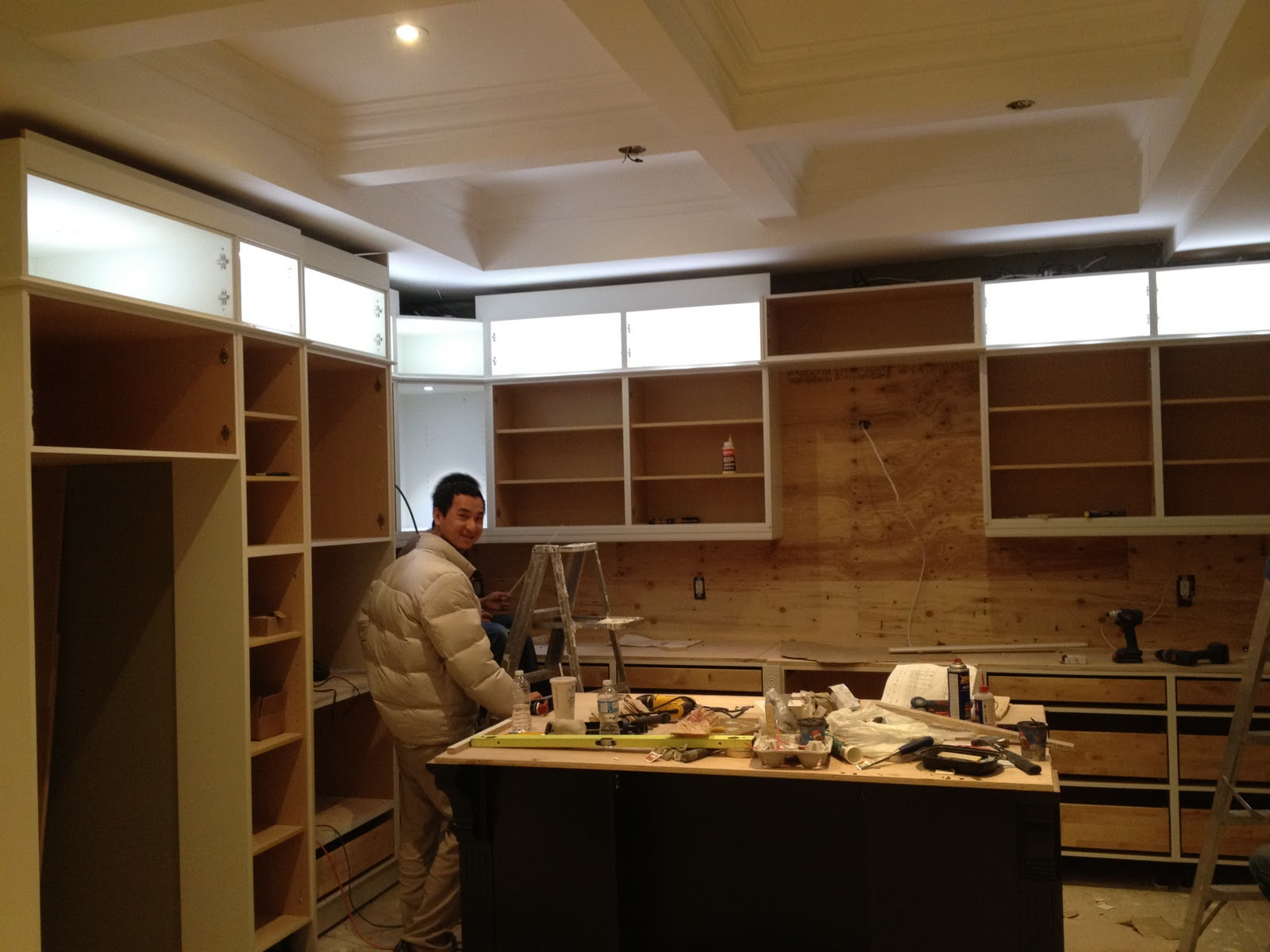 Lovely Bax Cabinets Installers Are Working Hard Lights And Crown Look Amazing