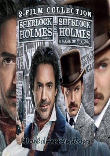 Poster Of Sherlock Holmes Duology In Hindi English Dual Audio 300MB Compressed Small Size Pc movies Free Download Only At World4ufree.Org