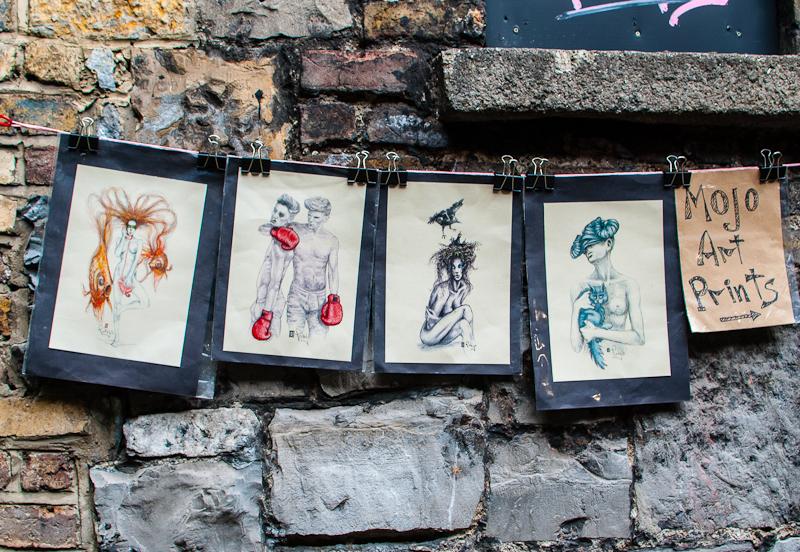 Art decorations on the walls along Temple Bar Dublin Ireland