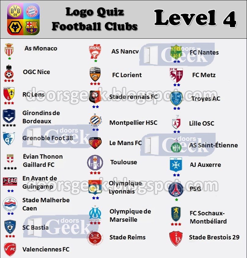logo quiz soccer clubs level 4 france doors geek