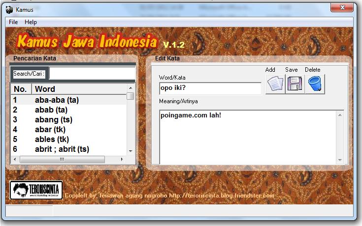 Kamus Bahasa Jawa - Indonesia, Jawa - Ngoko/Krama