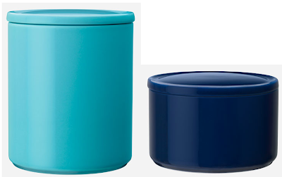 ceramic storage jars in two sizes - blue and turquoise