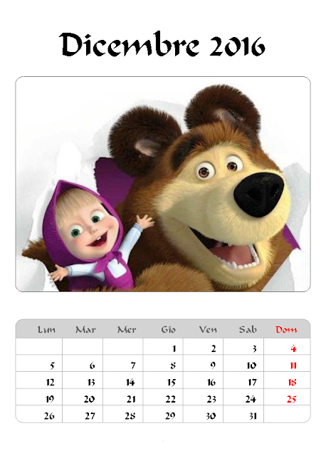 Calendario 2016 - Masha e Orso - Dicembre