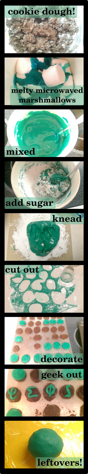 pictures of various stages of making marshmallow fondant. Picture One: unbaked cookie dough. Picture Two: partially-melted marshmallows. Picture Three: melted mixed marshmallows. Picture Four: marshmallows with icing sugar added. Picture Five: kneaded marshmallow-sugar concoction with fingerprints. Picture Six: cutouts of rolled-out marshmallow fondant. Picture Seven: baked cookies.  Picture Eight: greek symbols on cookies. Picture Nine: Leftover fondant wrapped in cling wrap.