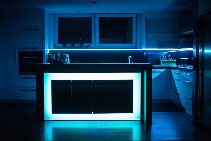 Blue light on kitchen island