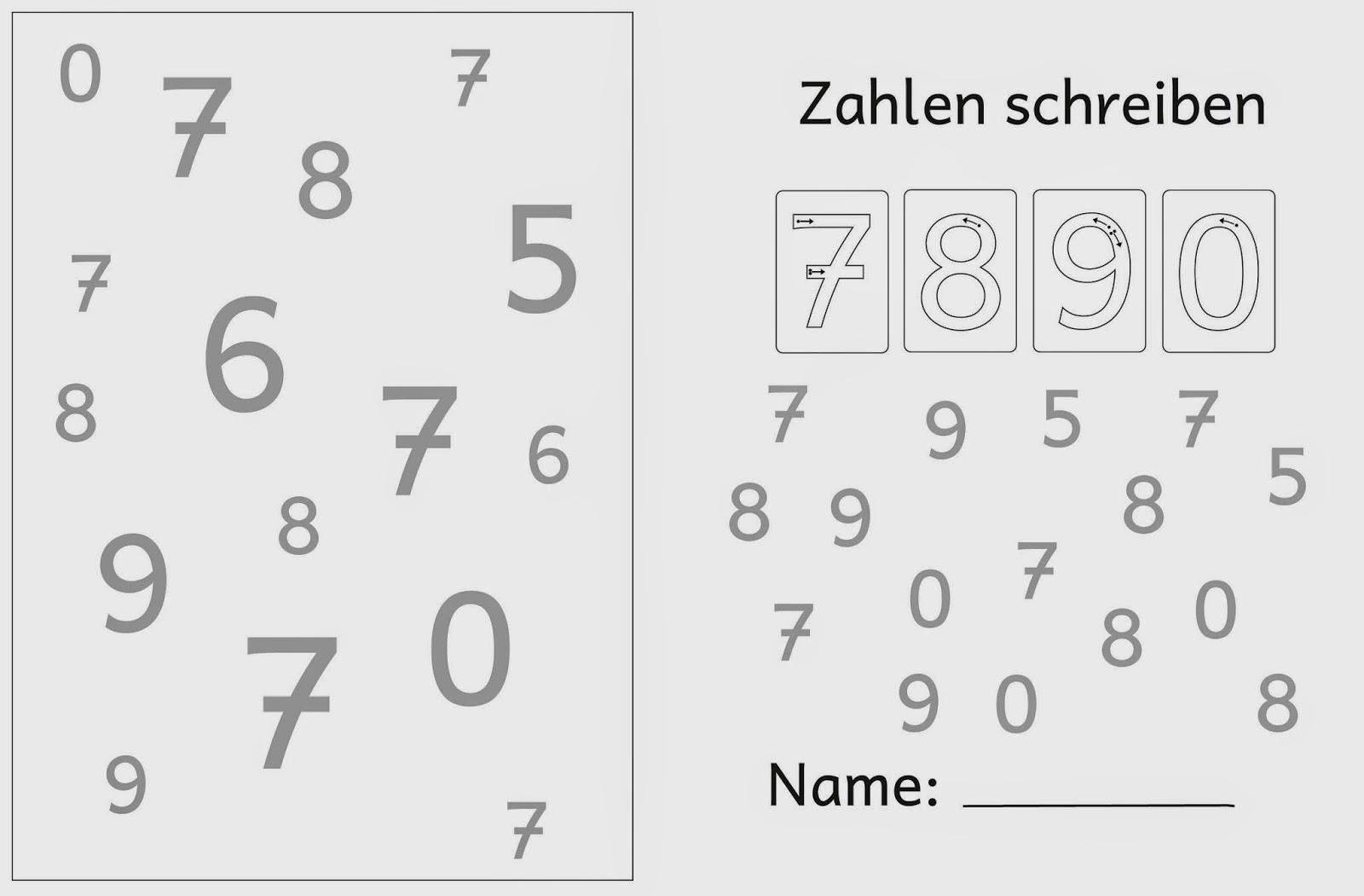 Lernstu00fcbchen: Ziffernschreibkurs 7 8 9 0 grou00dfe Zahlen (3)