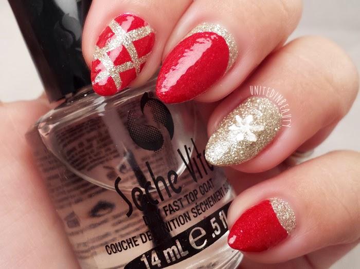 red and gold ruffian nails by @unitedinbeauty