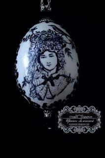 Пасхальное яйцо декупаж черное белое
