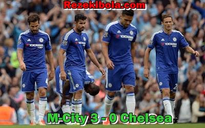 Chelsea kalah 0 - 3 atas tuan rumah Manchester City pada La Liga Inggris Rezekibola.com