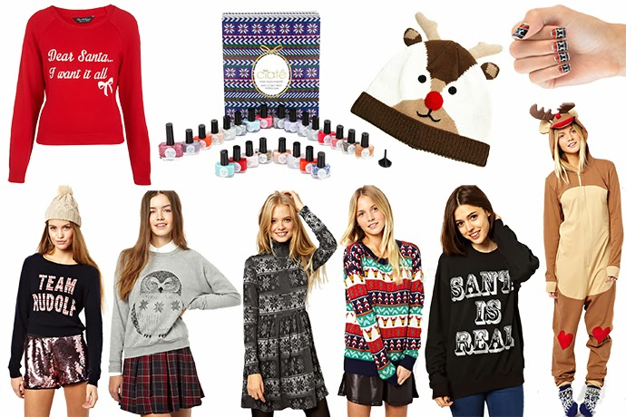 Wednesday wishes wishlist dedicated to Christmas featuring Christmas sweaters, nails, onesie, dress and beanie from Asos