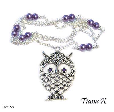 Tiana X - Kaulakoru, pöllö, Huuhkaja, violetti