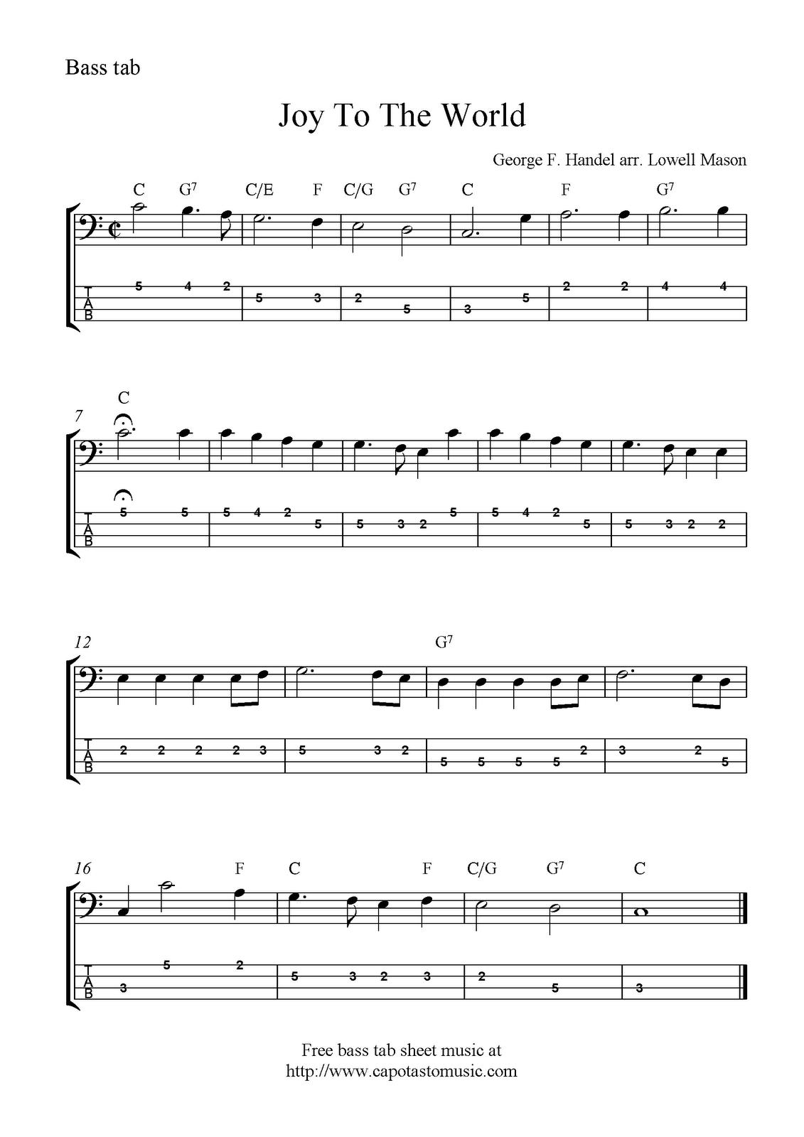 Joy To The World, free Christmas bass tab sheet music notes