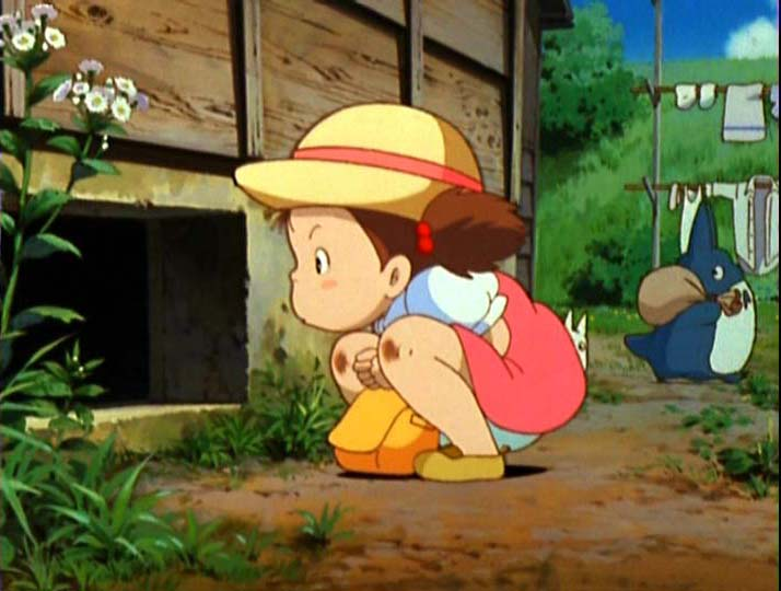 Mei looking under the house My Neighbor Totoro 1988 animatedfilmreviews.blogspot.com
