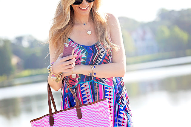 brightly colored swing dress for summer