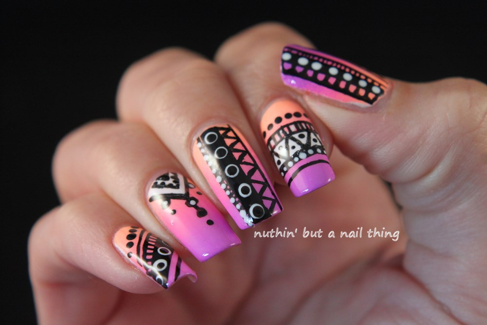 Neon tribal nail art