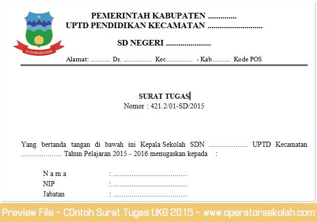 Cntoh Format Surat Tugas Mengikuti Uji Kompetensi Guru (UKG) 2015 Miscrosoft Word (Doc)