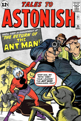 Tales to Astonish #35, Ant Man points as a much larger foe aims a gun at him