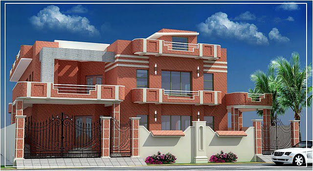 3d front pakistan beautiful front elevation for Punjab home design photos