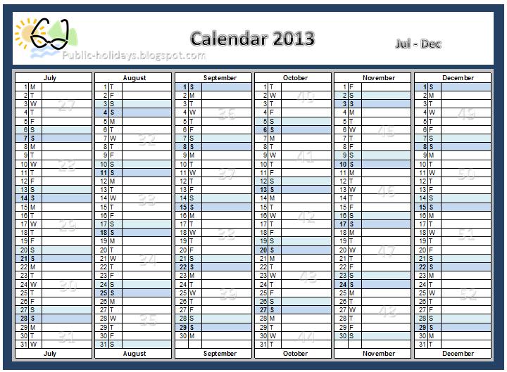 2013 Calendar with Holidays