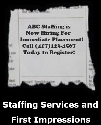 staffing agency ad, torn newspaper