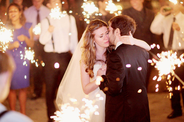 Wedding Sparklers Ideas and Inspiration - Sparklers as the Bride and Groom have their First Dance as a Newlywed Couple