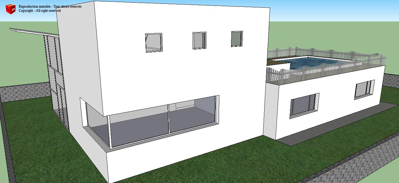 B timents 3d maison californienne for Modele maison californienne