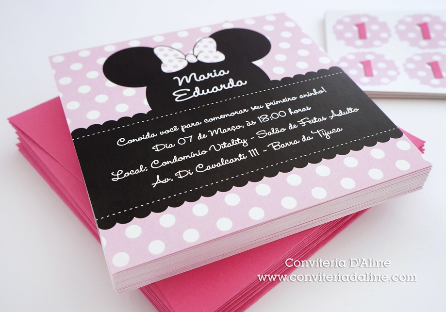 convites minnie rosa