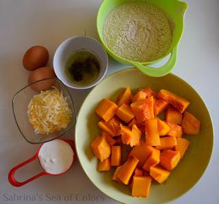 Ingredientes para unas magdalenas saladas de calabaza