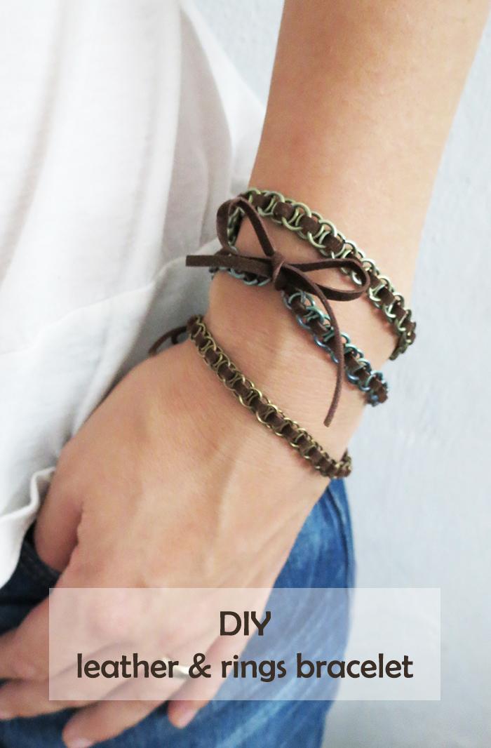 diy leather rings bracelet ohoh blog. Black Bedroom Furniture Sets. Home Design Ideas