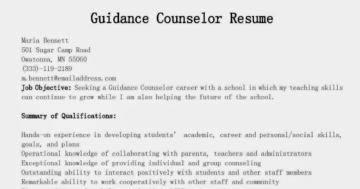 Resume for high school counselors