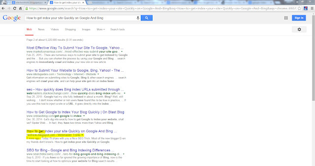 google indexing result showing query