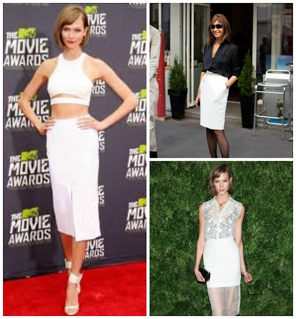 Celebrities white pencil skirt
