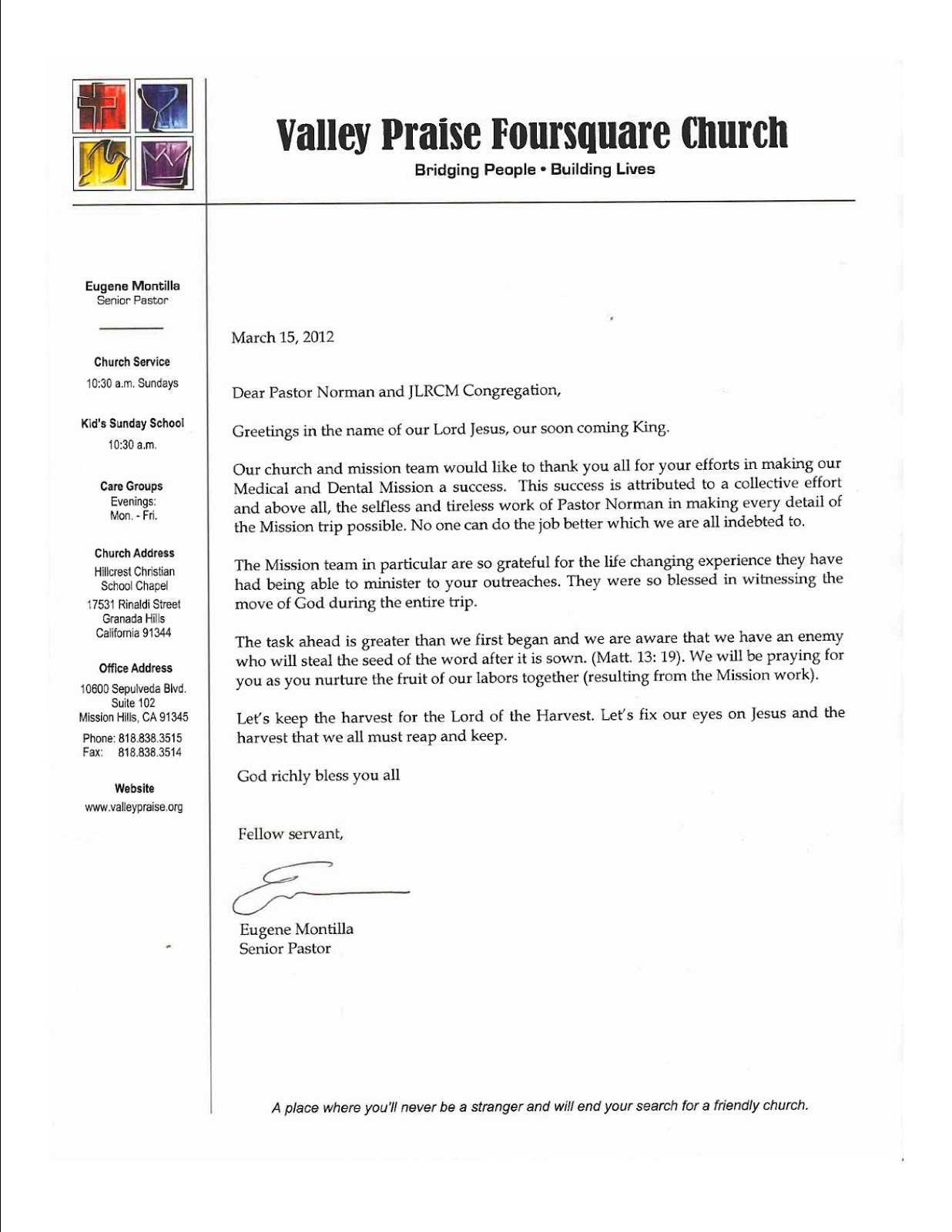 the living rock church of iloilo city thank you note from pastor thank you note from pastor eugene and valley praise medical dental team