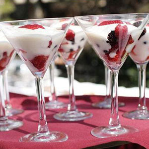Jackie fo late night wedding food for Mini martini glass dessert recipes