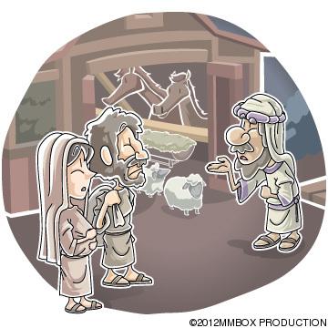 nativity scene No room for Mary and Joseph