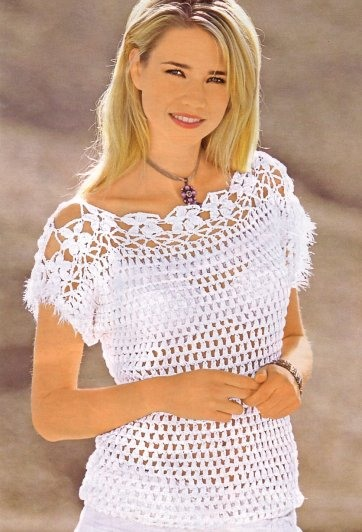 Белая блузка крючком
