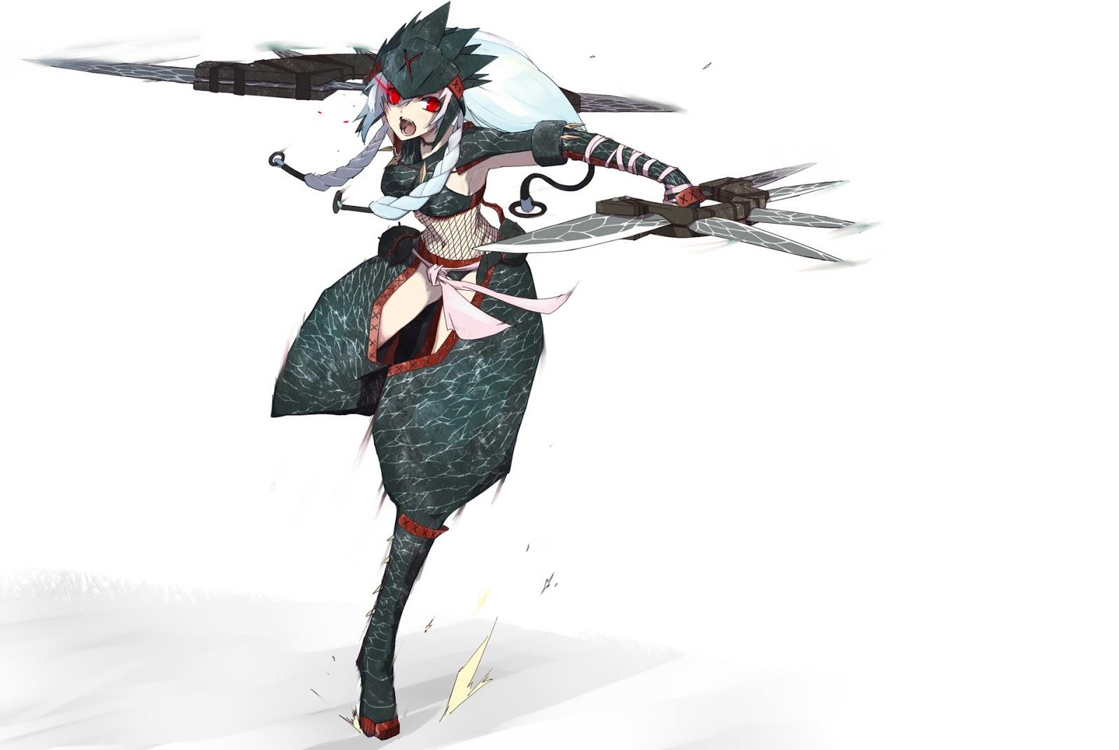 Ninja Suit Dagger Weapon Female Girl Anime HD Wallpaper Desktop PC    Ninja Weapons Wallpaper