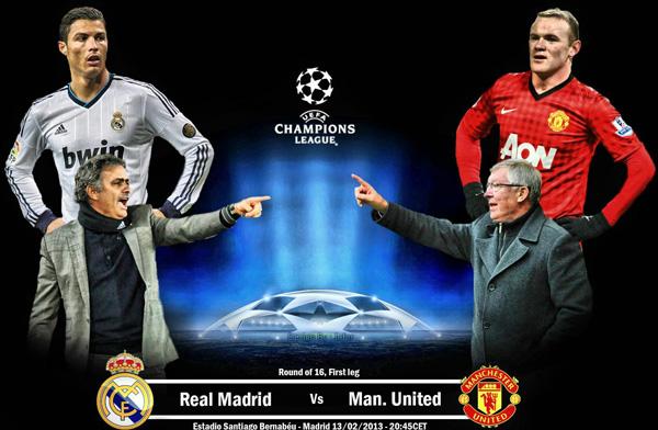 مشاهدة مباراة ريال مدريد ومانشستر يونايتد اليوم 13/2/2013 بث مباشر اون لاين عصام الشوالى manutd kora