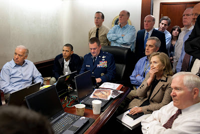 This picture was taken by White House photographer Pete Souza on May 1, 2011, while President Barack Obama and senior staff oversaw the mission against Osama bin Laden