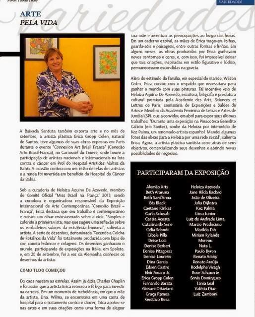 Revista Beach Class e os nomes dos 73 artistas do Carrocel du Louvre. DINA GARCIA ENTRE OS ARTISTAS