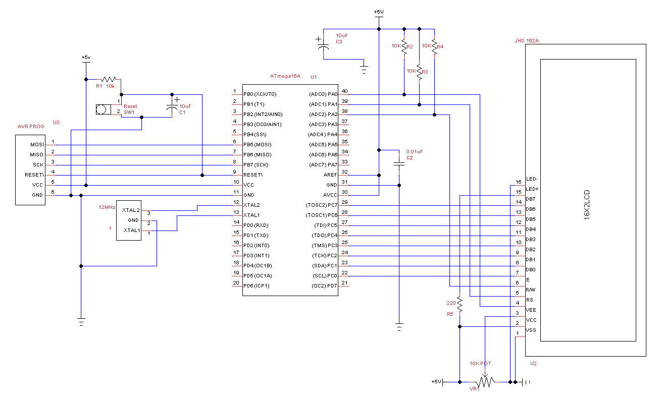 16x2 lcd display using avr controller atmega16a embedded life schematic diagram pooptronica Gallery