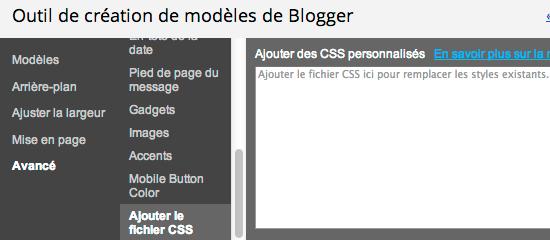 Modifier les CSS dans l'outil de création de modèles