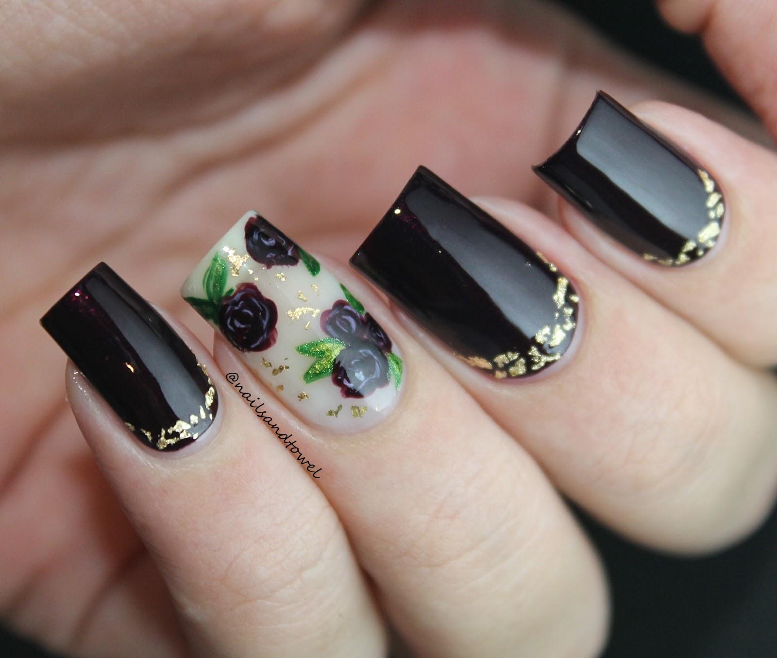 My Nail Art Journal: Elegant Vampy Roses Nails Inspired