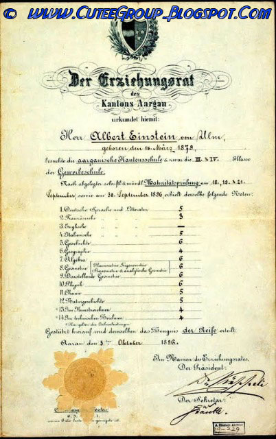 School grades of Albert Einstein