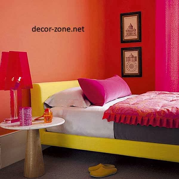yellow, red, orange bedroom paint color ideas