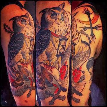 Modelos de tatuagens de corujas no braço masculino