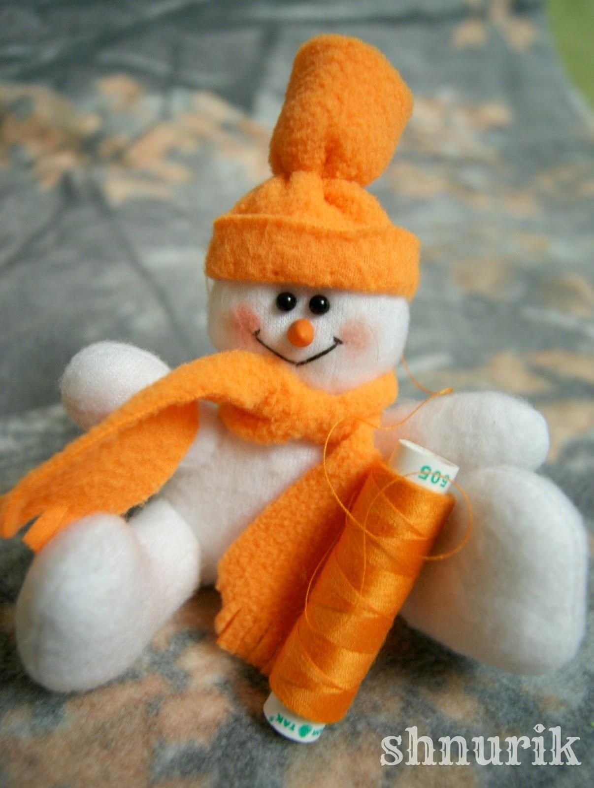 Как сделать шапку снеговика из ткани