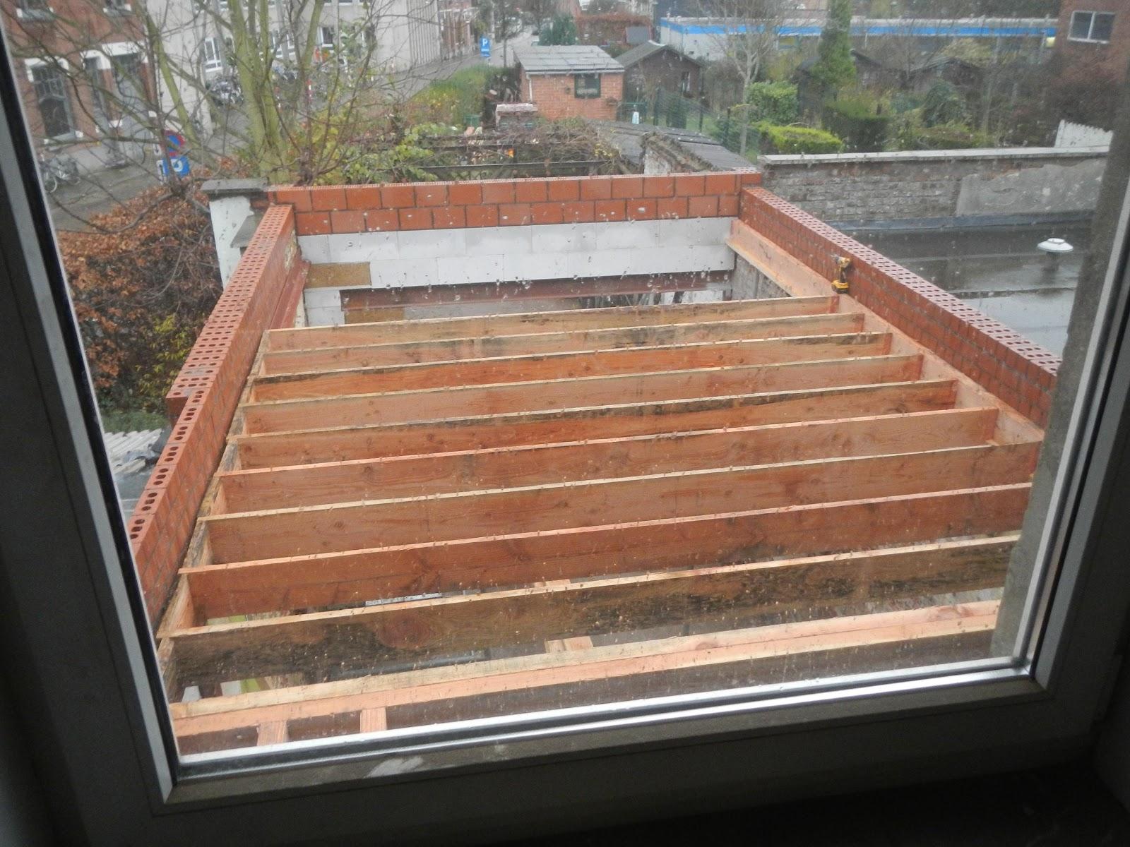 Houten dakconstructie plat dak zelf overkapping bouwen met plat