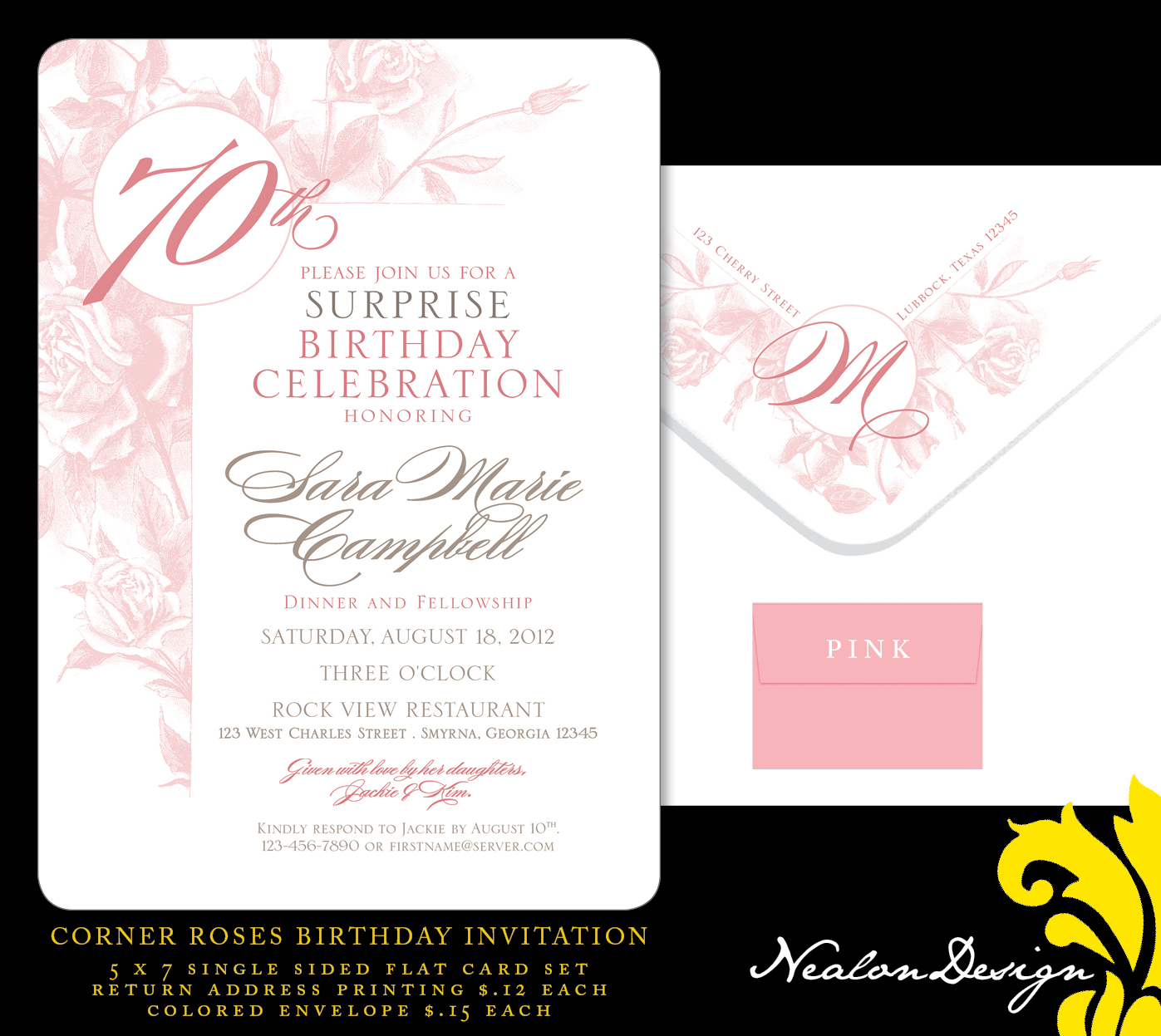 Nealon Design: Corner ROSES 70th Birthday Invitation