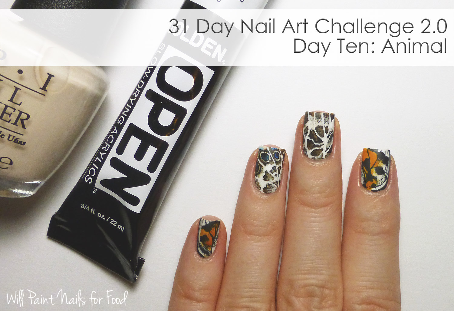 Freehand butterfly nail art